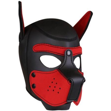 Psia maska Neoprene Puppy Hood červeno-čierna