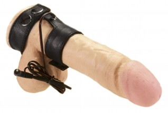 Kožený dvojkrúžok Rimba Electro Sex Leather Penis Straps